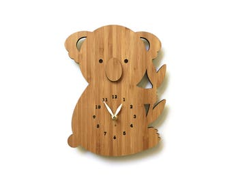 Koala Bear Wall Clock With Numbers, Wood Clock for Nursery or Children's rooms
