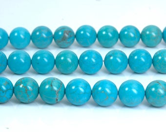 blue Chinese turquoise beads - dyed stone jewelry beads - smooth round turquoise beads - blue beads for jewelry making -4-12mm beads-15 inch