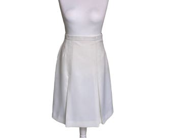 1970's Skirt - White Vintage Skirt - Nurse Health Uniform - Ivory White Skirt - 1970's Vintage Skirt