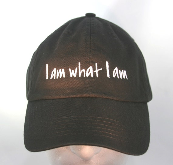 I am what I am  (Polo Style Ball Black with White Stitching)