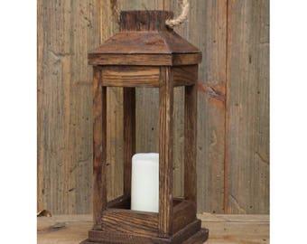 Rustic Wooden Hanging Lantern ~ Dark Walnut Stain