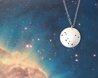Andromeda constellation sterling silver necklace