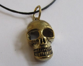 Skull Pendant On Wax Cord Adjustable Unisex Free UK Shipping + Gift Bag CH1