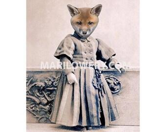 Animal in Clothes Art, 8 x 10 Inch Print, Fox Art, Victorian Portrait, Animal in Dress, Anthropomorphic Art, Nursery Decor, frighten