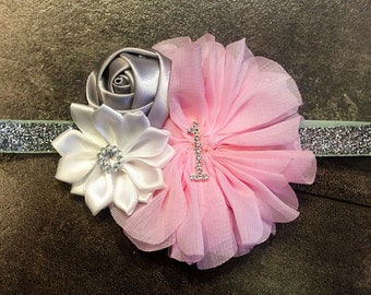 Pink and silver first birthday headband, pink first birthday headband, pink and gray birthday headband