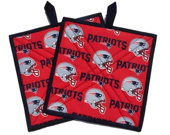New England Patriots Potholders, Two Quilted Patriot Fabric Pot Holders, Patriot Potholders, Patriot Tailgate Accessory, Quiltsy Handmade
