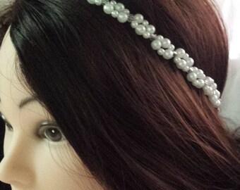 Bridal headband, pearl headband, pearl headpiece, bridal headpiece, wedding hair jewelry