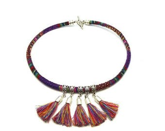 Cotton woven with its colorful pom-poms ethnic Choker