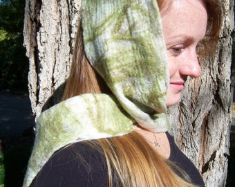 Nuno felted scarf, cream green and brown merino and alpaca fibers over a cream silk scarf
