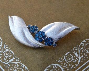 Vintage Crown TRIFARI Blue Rhinestone Pin, Trifari Sapphire Blue Rhinestone Brushed Silver Tone Bow Leaf Brooch, Mid Century Estate Jewelry