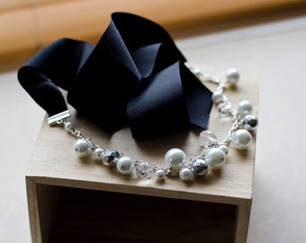 Black ribbon bridesmaid necklace with chunky white pearls (Sale)