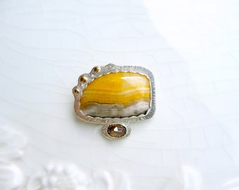 Sunrise Jasper Pin with Smokey Topaz - Premium Argentium Sterling Silver and 14k Gold, Brooch
