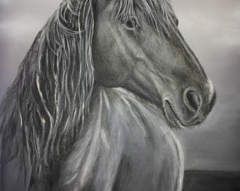 Beauty-Original acrylic painting, picture, acrylic, horse, Animal portrait, original,