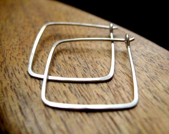 sterling silver hoops. square earrings. geometric jewelry.