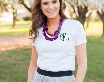 Womens Monogrammed V Neck T shirt | Monogrammed Tee | Ladies Monogram T shirt | Womens Monogram V Neck | Personalized T shirt | Womens Gift