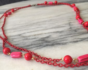 Red Chain and Bead Necklace / Statement Necklace / Multi strand Necklace / Layered Necklace / Vintage Necklace