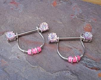 Pink Druzy Nipple Ring Nipple Piercing