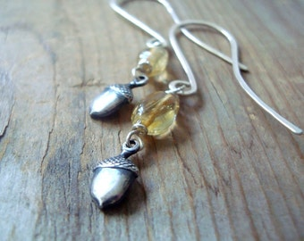 Silver Acorn Earrings With Citrine - Nature Jewelry Acorn Jewelry Charm Jewelry November Birthstone Woodland Jewelry Fall Autumn