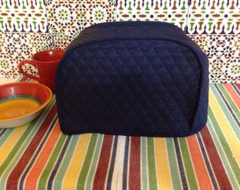 Navy Blue 2 Slice Toaster Cover Quilted Fabric Dust Cover Kitchen Storage Small Appliance Covers Ready to Ship