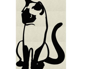 Siamese Kitty Cat - EMBROIDERY DESIGN file - Instant download Exp Jef Vp3 Pes Dst Hus formats - 2 sizes one color