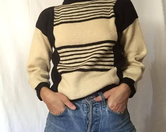 Black and cream striped wool sweater