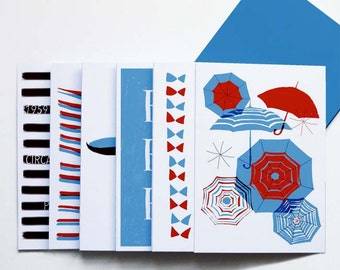 6 Paris illustrated notecards. French New Wave. Illustrative cards. Mid Century Cards.