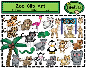 Zoo Clip Art - Digital Clipart - Zoo Animals - Instant Download