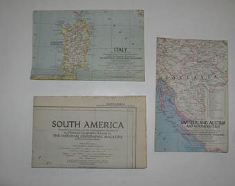 National Geographic map. Vintage wall map. South America, Switzerland Austria, Italy.