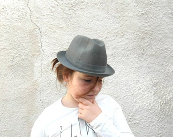 50s French men's Trilby, US 6 7/8 or 55, pork pie hat made by Crambes, France, size small, grey waterproof trilby hat, gift for him.