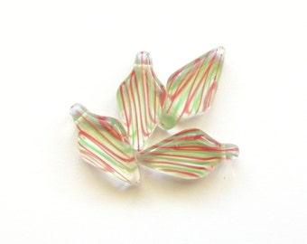 Long Melon and Mint Green Striped Czech Glass Daggers, 22mm - 4 pieces