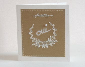 """Congratulations wedding card kraft and white """"Yes"""" made hand"""