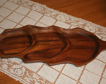 Divided Wood Dish of Monkey Pod Wood Dish , Leaf Shaped Serving Tray, Wood Serving Tray