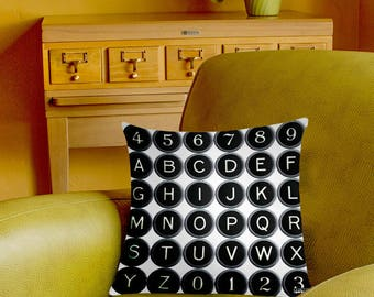 Vintage Typewriter Keys Pillow Cover - vintage typography - alphabet letters pillow case - 2-sided printing