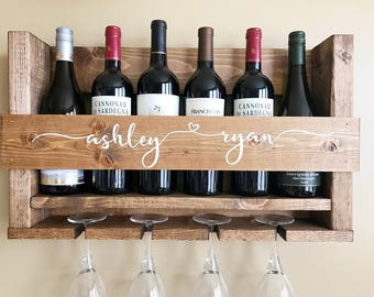 Wedding Gift Wine Rack Wall Mounted Personalized Rustic