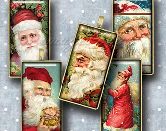 "Santa Claus Vintage Christmas printable download 1x2"" Domino Tile images, 1x2 inch digital collage sheet 15x30mm, bamboo 0.75x1.5"" (19x38mm)"