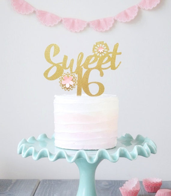 Sweet Sixteen Cake Topper Gold Sweet 16 Cake Topper Girls