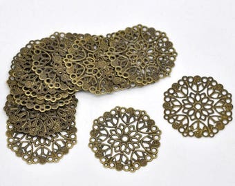 Prints filigree connector 35 mm set of 10 Bronze