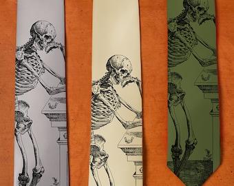 Skeleton Tie - SILK Necktie - Skull Tie - Gift For Men - Men's Neck Tie - Unique Gifts for Him - Skull Gifts