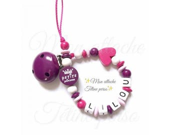 """personalized pacifier clip wood beads ~ Princess model """"Lilly"""""""