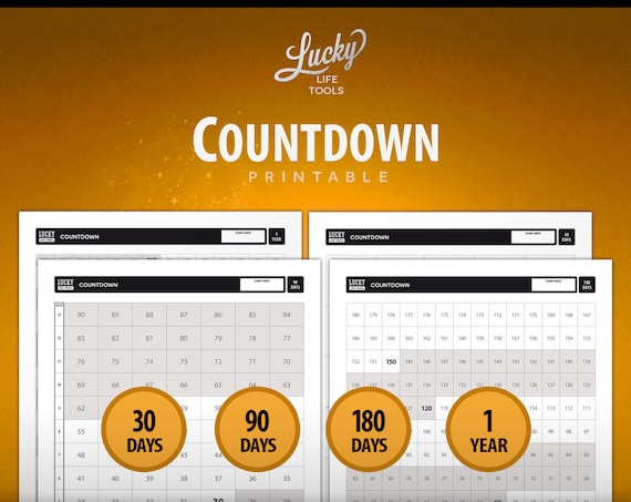 "Countdown ""Don't break the chain"" Calendar & Day Counter / Tracker; Printable PDF; Letter size 8.5""x11"""