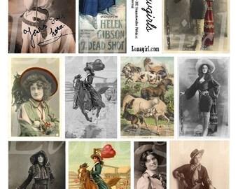 Feuille de collage numérique de cow-girls, vintage photos femmes western rodéo cavaliers chevaux Americana modifié art images imprimables éphémères téléchargement