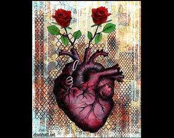"Print 11x14"" - Roses Are - Heart Anatomy Anatomical Flowers Red Love Lowbrow Art Surreal Still Life Fantasy Pop Art Dark Cute Rust Love"