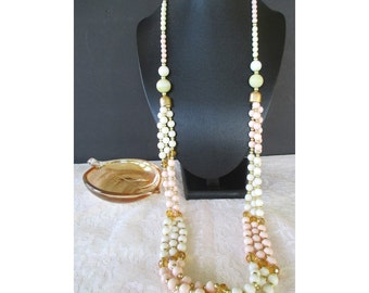 Bead Necklace * Triple Strand * Pastel And Gold Colors * Long Bead Necklace * Including Glass Trinket Dish * Gift For Lady