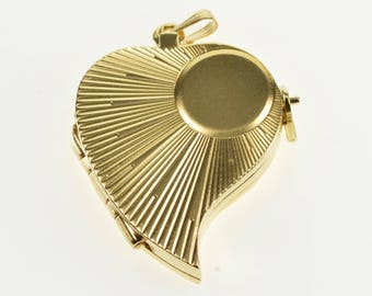 14k Very Unique Photo Heart Layered Locket Pendant Gold
