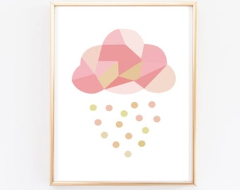 nursery print - cloud rain print -  rainy cloud print  - rainbow nursery  - nursery decor - wall decor - wall art