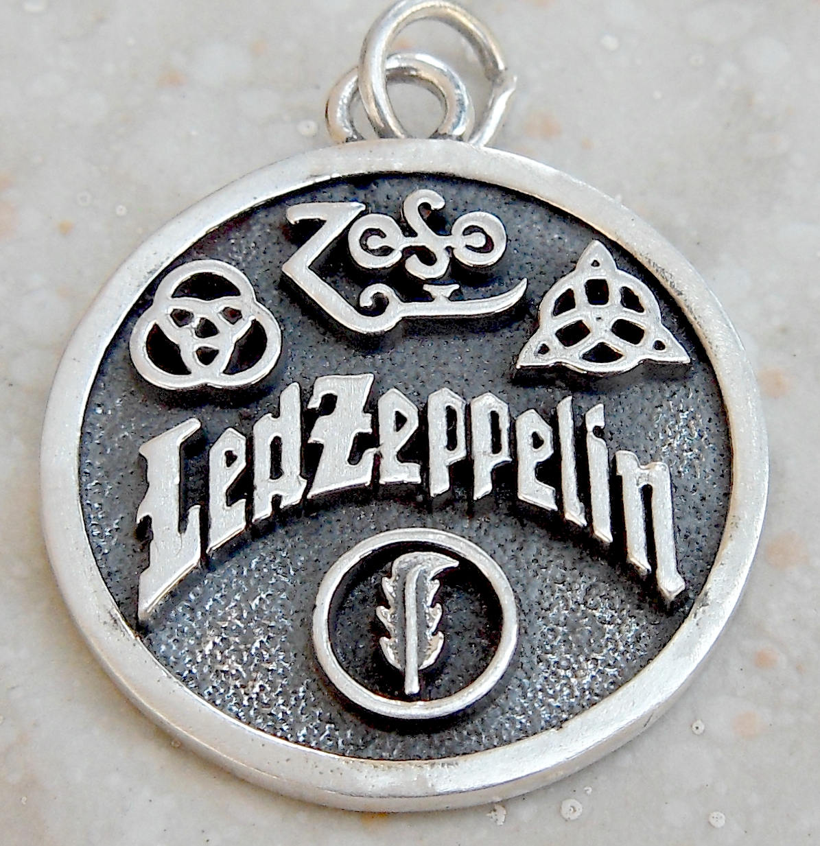 Led zeppelin swan song zoso 4 symbols 3d pendant solid description led zeppelin biocorpaavc