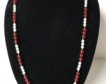 Monet necklace, red and white with gold spacers.  Lightweight.