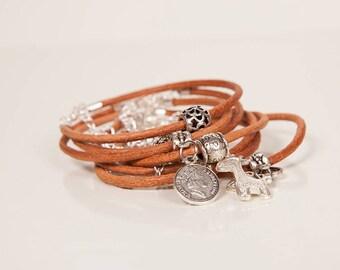 Brown leather bracelet, Charm bracelets, Bracelets for women, Leather bracelets, Multi strand cuff, Boho bracelets set