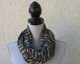 Infinity scarf, Eternity scarf, fabric scarf, circle scarf, loop scarf, cowl scarf, multicolored scarf, black scarf, statement  scarf, color
