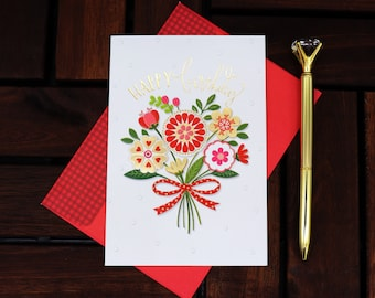 Birthday Card, Handmade Card, Blank Card, Greeting Cards, Greeting cards handmade, Unique Card, Flower Card, Red envelope